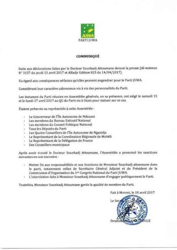 L'Assemblée Générale du Juwa met fin aux fonctions de Dr Sounhadj par communiqué