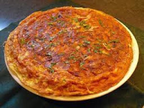 omelette aux tomates et au jambon gratinée au four