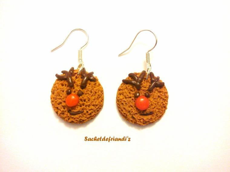 Boucles d'oreilles cookies rudolph !