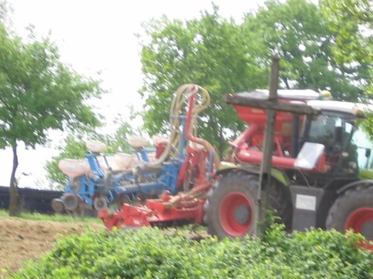 Semi de maïs 2012 avec un claas Xérion 3800