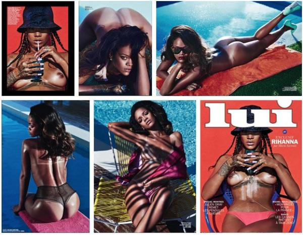 "Rihanna topless and ass in the air in ""Lui"""