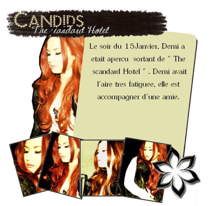 """15Janvier : Demi sortant de """" The scandard Hotel """" .  Demi à l'aire fatiguée sur les photos, elle a une petite mine."""
