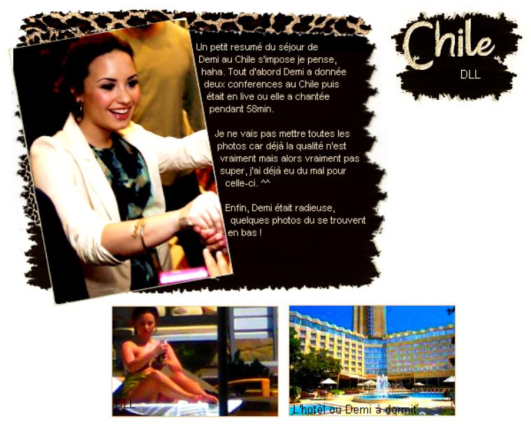 Demi et son séjour au Chile.  Regroupement des performances..