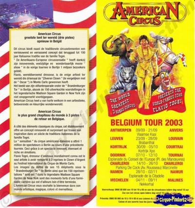 Flyer de l'American Circus-2003 (n°106)