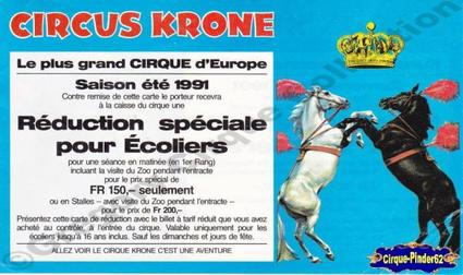 Flyer du Circus Krone-1991 (n°152)