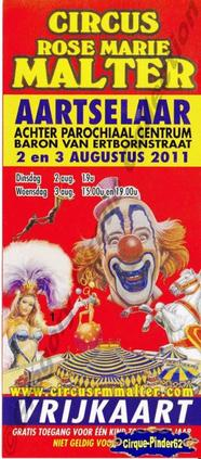 Flyer du Circus Rose-Marie Malter-2011 (n°182)