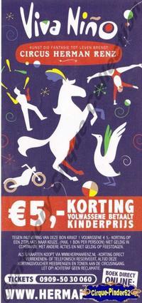 Flyer du Cirque Renz (Circus Herman Renz)-2013 (n°407)