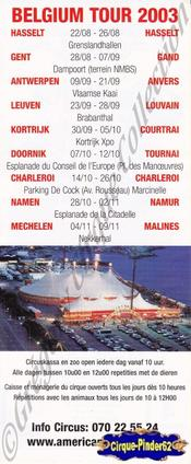 Flyer de l'American Circus-2003 (n°569)
