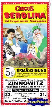 Flyer du Circus Berolina-2008 (n°497)