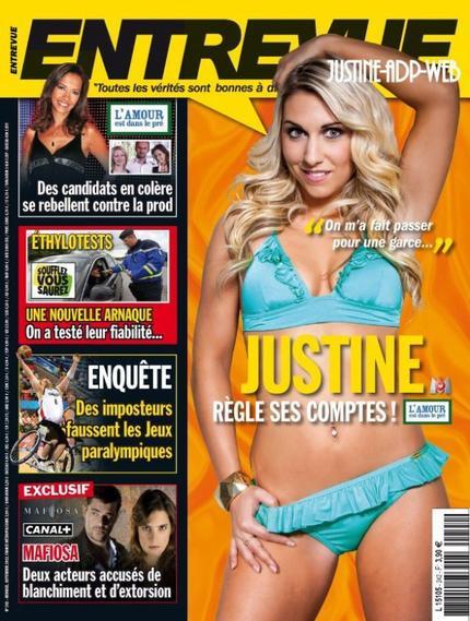 Justine dans le mag Entrevue