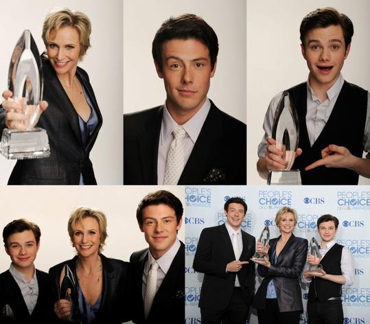 Cory Monteith , Chris Colfer et Jane Lynch aux People's Choice Award 2011