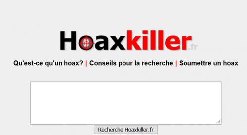 Infos ou intox ?  Vérifions l'information reçue à l'aide d' Hoaxkiller !
