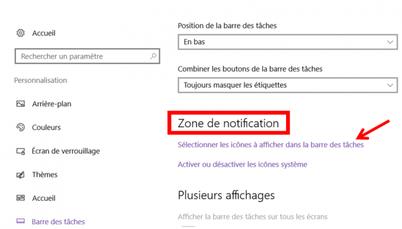 Gérer les icônes de la zone de notification - Windows 10.