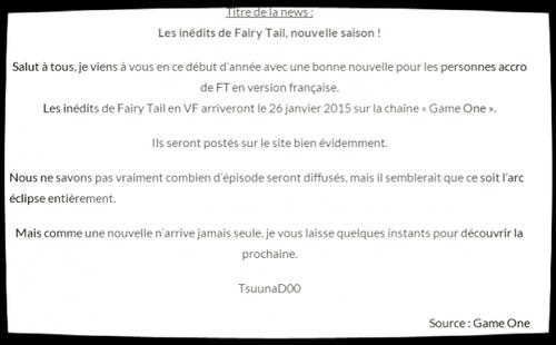 Grande nouvelle pour les fans de Fairy Tail !!! Fait passer l'info !