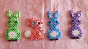Petits lapins en perles hama