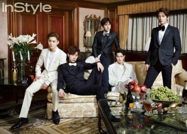 사진  Les idols SuHo (EXO) , Sunggyu (INFINITE) ,  KyuHyun (Super Junior ),  Jonghyun (CNBlue) et  Minho (SHINee)  posent pour le magazine InStyle [ Bounce Indo ]