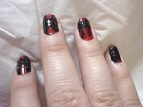 Nail Art corset rouge/noir/blanc