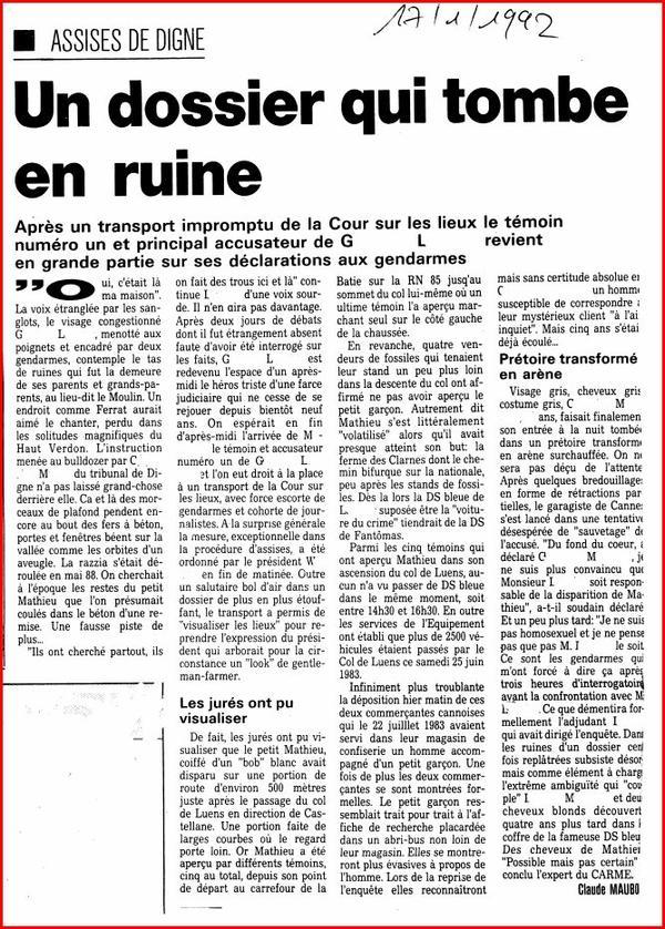 Disparitions d'enfants - Un dossier qui tombe en ruine - Le Méridional 17 janvier 1992 -