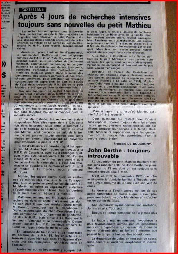 CASTELLANE (04) - En 1982 et 1983 deux petits garçons disparaissent dans la même région PACA. Ils n'ont pas encore été retrouvés, D'autres enfants disparaissent en Isère !