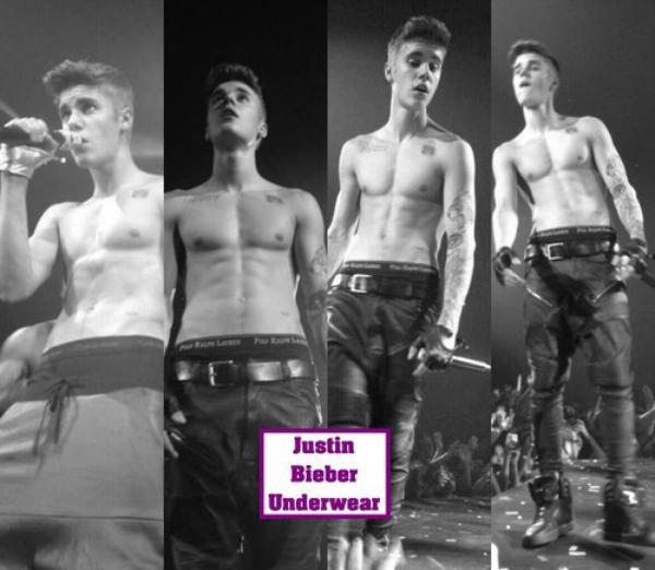 Justin Bieber torse nu, avec un boxer Calvin Klein noir sur scène !