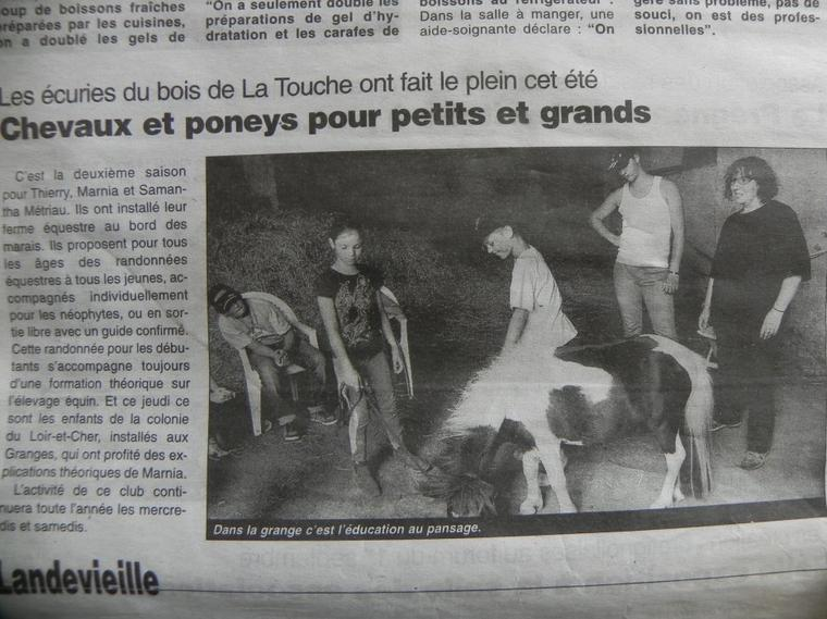 article parut dans le journal des sables cet été (prochain: jeudi 4 octobre 2012)