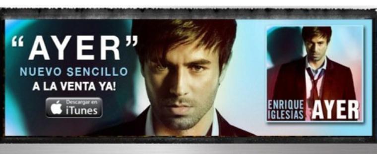 . Découvrez le prochain single du beau Enrique 'Ayer' diponible sur l'album Euphoria et ITunes! .