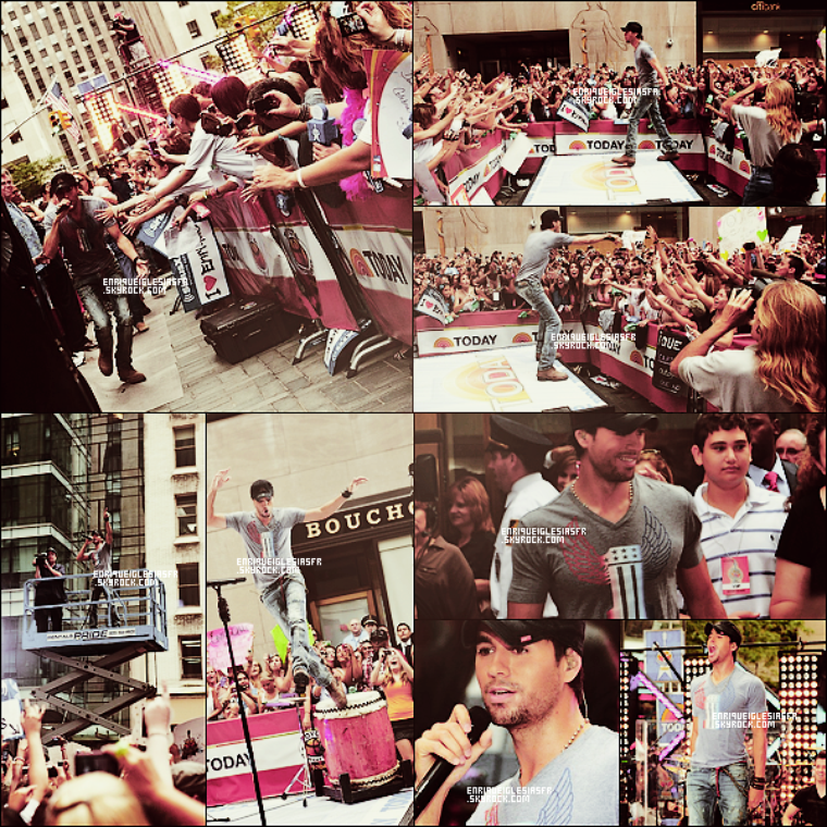 ". Vendredi 19 Aout - Enrique performe 3 de ses tubes au concert ""Today Show"" à New York.  ."