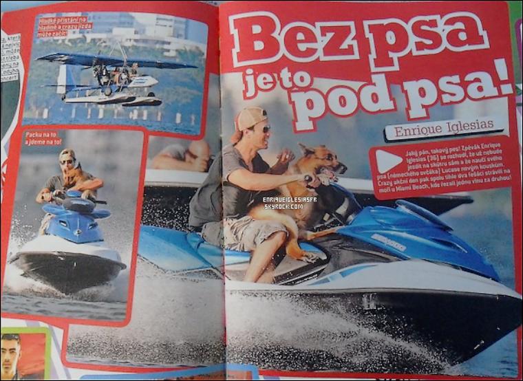 .  ▬_ Enrique fait une apparition dans le magazine tchèque : « Bravo ! », on peut le voir avec son chien Lucas , tu aimes ?.
