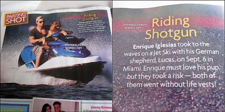 .  ▬_ Enrique fait une apparition dans le magazine Américain : « Star ! », on le voit encore une fois avec son chien , tu aimes ? .