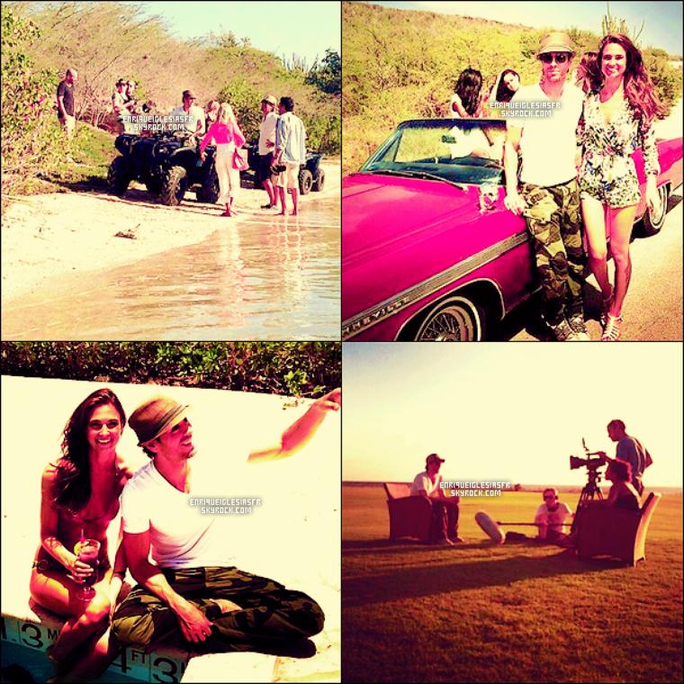 """06/04/14 Enrique  à était aperçus sous le soleil deCaraçao pour tourner des scène du prochain clip se nommant """"Bailando""""."""