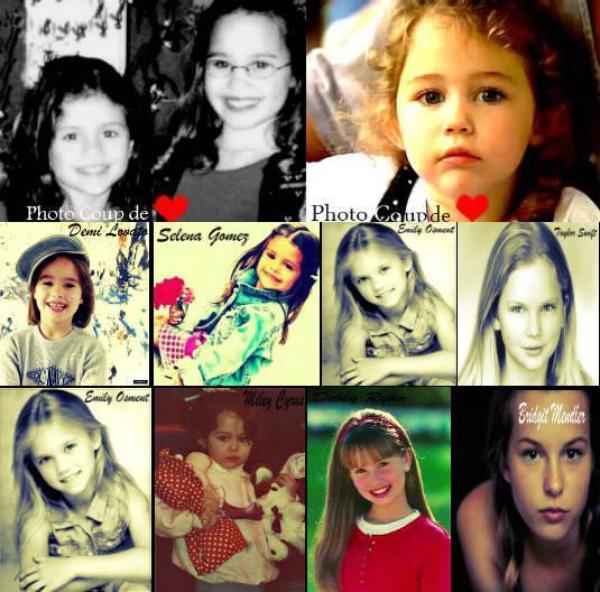 Stars : Selena Gomez, Ashley Tisdale, Demi Lovato, Vanessa Hudgens, Miley Cyrus, Emily Osment, Hilary Duff, Taylor Swift, Debby Ryan et Bridgit Mendler. Quand elles étaient Petites.
