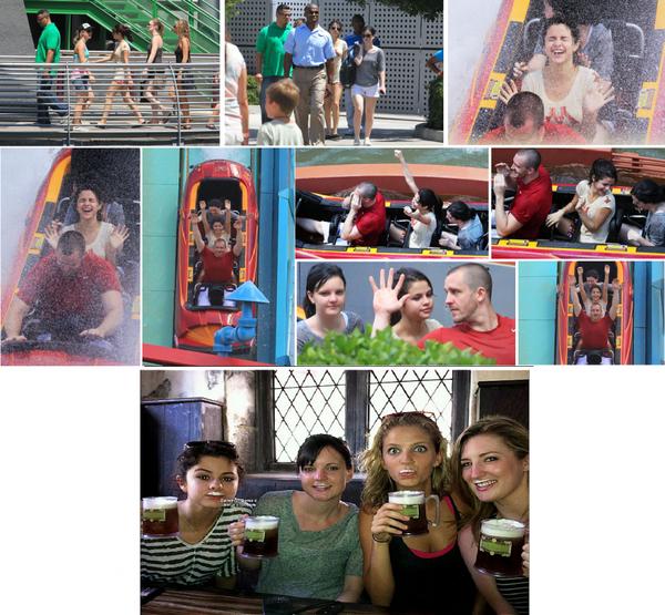 Selena s'amusant dans le parc d'Universal Orlando avec son beau-père et des amies en Floride. Premier jour de repos dans le pays d'Harry Potter avec les filles Dans l'Orlando en Floride buvant de la butterbeer ce vendredi 29 juillet