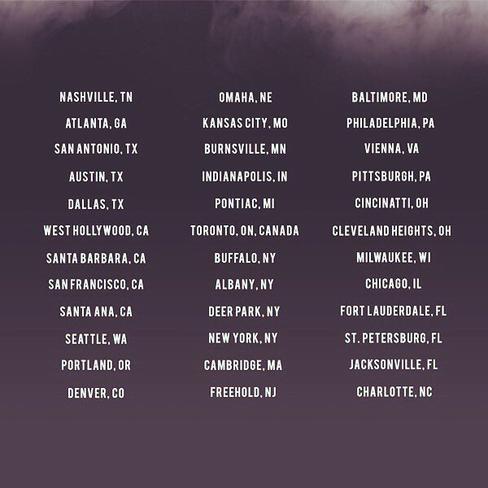 EVOLution Tour 2016 -- Les villes ou Sabrina se produira.