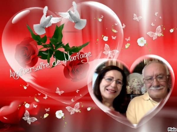 Marion et Paco, je vous souhaite un Heureux Anniversaire pour vos 47 ans de Mariage... et j'espère qu'il y en aura beaucoup d'autres.... Mille bisous Josie