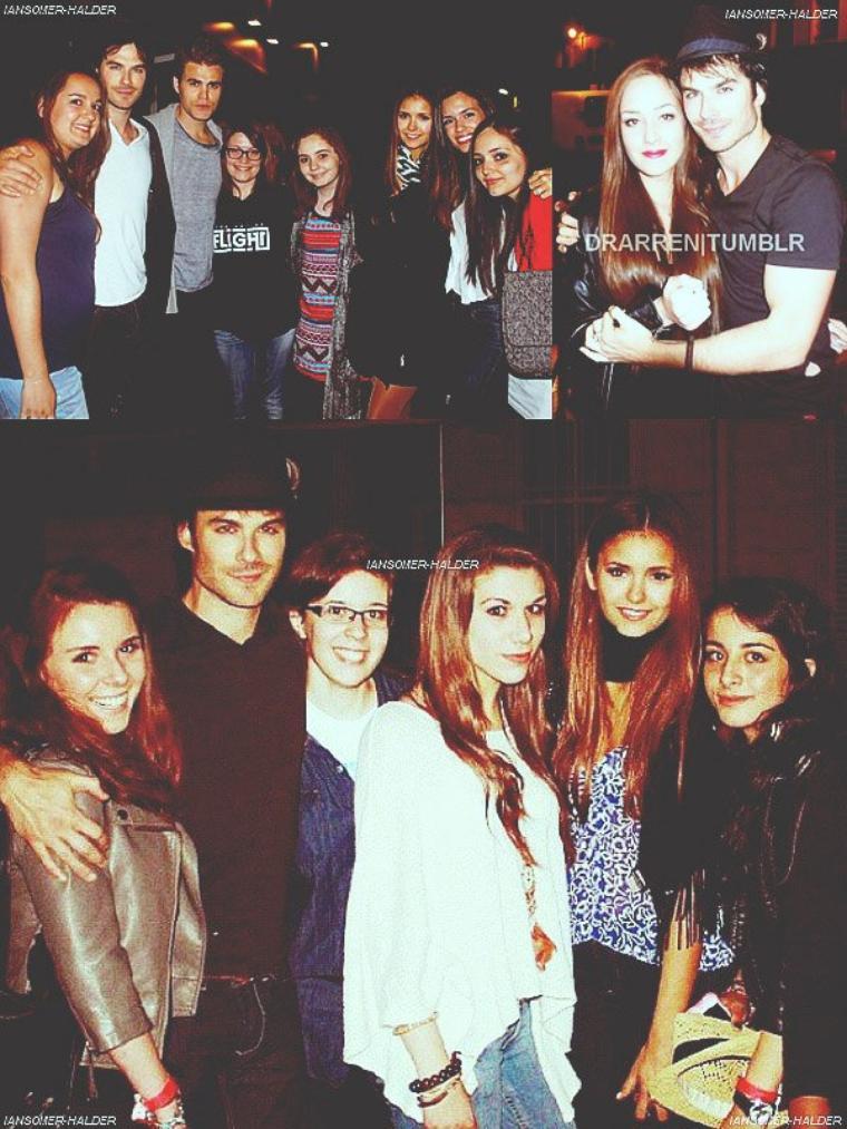 Ian, Nina, Paul et Torrey posant avec des fans dans Paris. | Entre le 25 et 28 mai 2012.