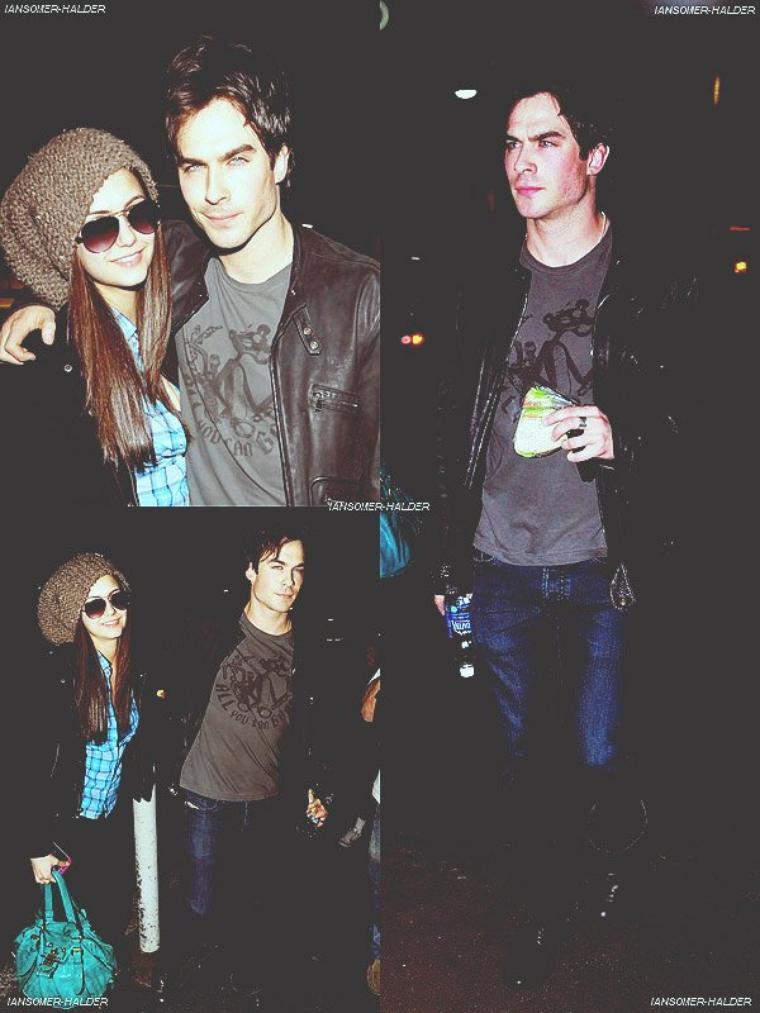 Ian a l'aéroport de LAX à Los Angeles avec Nina. | Le 13 février 2010.