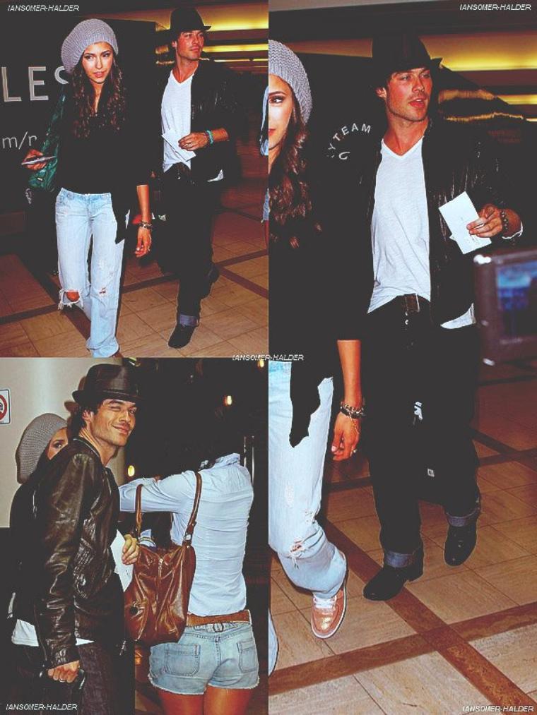 Ian et Nina arrivant a l'aéroport de LAX. | Le 08 août 2010.
