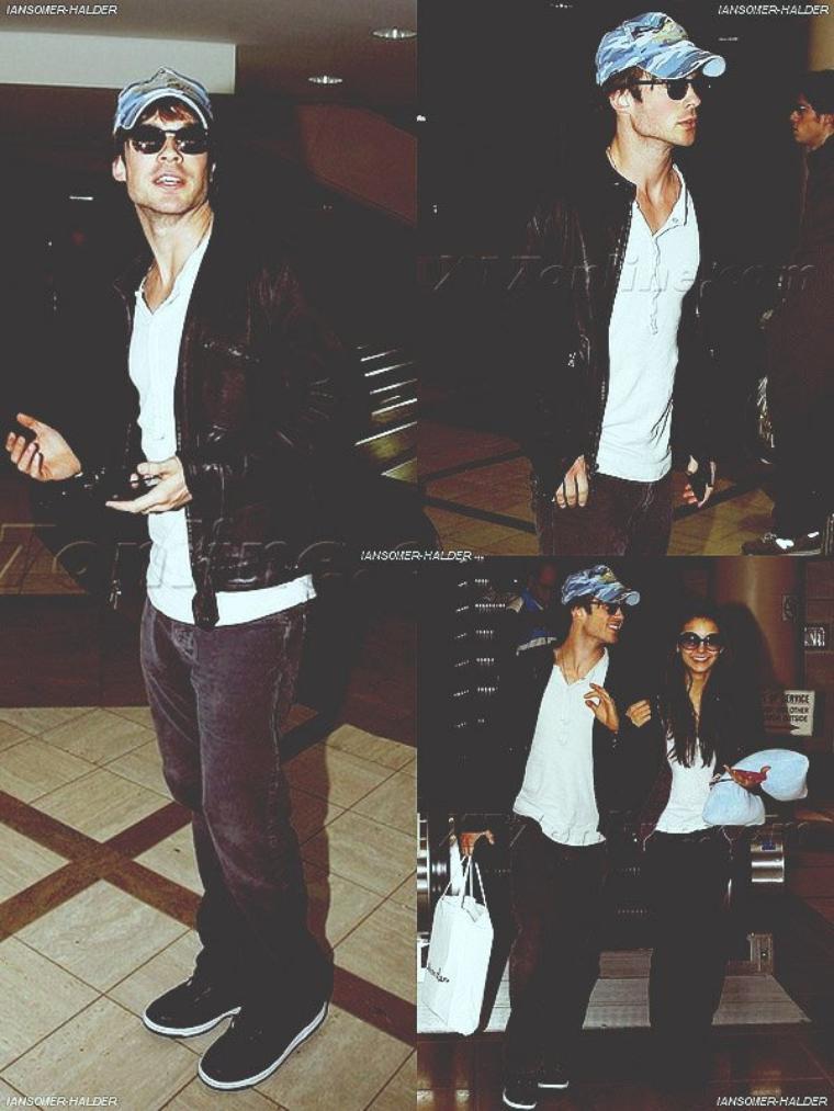 Ian a l'aéroport de LAX avec Nina et a sa fête d'anniversaire. | Le 9 décembre 2009.