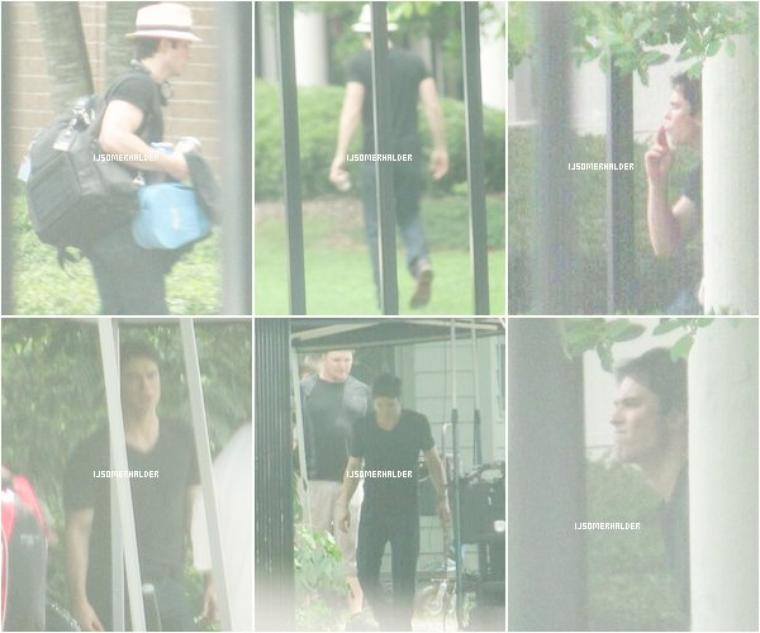 Ian sur le tournage de la saison 5 de TVD. | Le 23-24 juillet 2013.