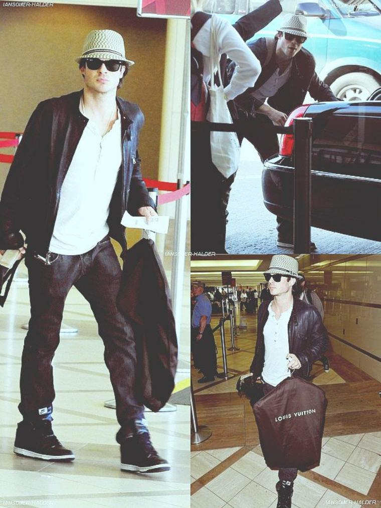 Ian arrivant a l'aéroport de LAX. | Le 15 février 2010.