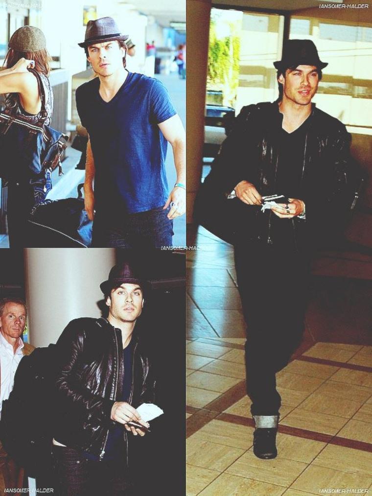 Ian à l'aéroport de LAX avec Nina Dobrev. | Le 23 janvier 2011.