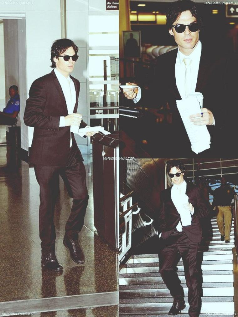 "Ian arrivant au "" Ronald Reagan Airport "" à Washington. 