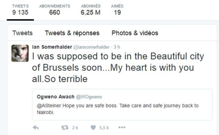 Ian a publiée un message pour montrer son soutiens à la Belgique suite au attentat du 22 mars
