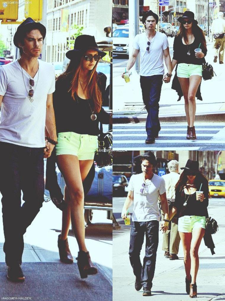 Ian et Nina main dans la main ce promenant dans New-York. | Le 13 mai 2012.