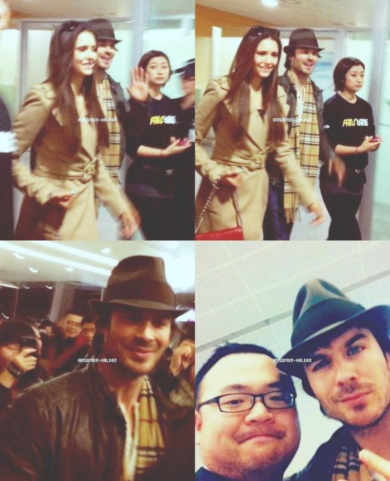 Ian et Nina arrivant a l'aéroport de Chine à Shanghai.  | Le 27 décembre 2012.