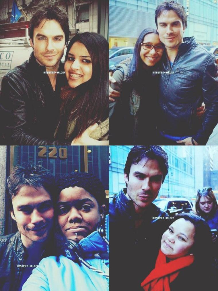 Ian dans les rues de New-York avec des fans. | Le 15 mars 2013.