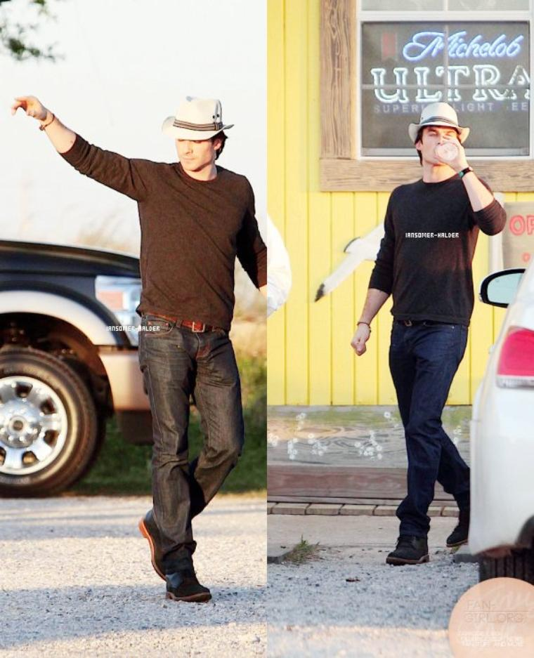 Ian à été apperçus à la nouvelle Orléans avec son Père Robert. | Le 13 mai 2013.