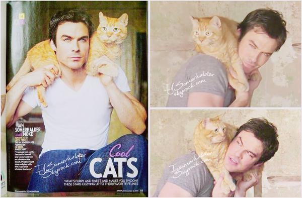 Ian et son beau chat Moke pour le magazine People. | En 2013.