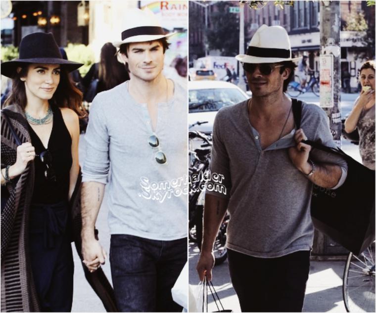 12 octobre ->Ian et Nikki se promenant à New-York. Durant leur promenade, ils ont croisés le couple Joshua Jackson/Diane Kruger.