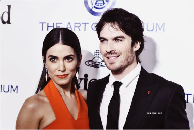 """9 Janvier ->Ian et Nikki ont assisté au Gala annuel """"art of heaven"""" Ils étaient avec Paul Wesley, Phoebe Tonkin et Kat Graham."""